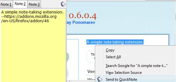 QuickNote Firefox addon