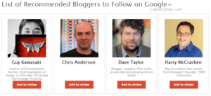 Recommended Users on Google+